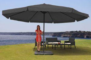 Sonnenschirm Meran Pro, Gastronomie Marktschirm mit Volant Ø 5m Polyester/Alu 28kg  anthrazit mit Ständer