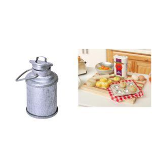 Mini Vintage Milk Can \\u0026 Food Brot Gebäck Arbeitstisch Für Dollhouse Miniature