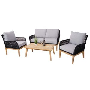 Gartengarnitur MCW-H58, Lounge-Set Sofa Sitzgruppe, Seilgeflecht Massivholz Akazie Spun Poly  Kissen hellgrau