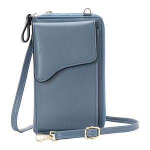 Kleine Lederhandtasche, Crossbody Umhängetasche Handy Wallet Leichte Crossbody Handtaschen für Damen Farbe Blau