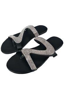 Damen Hausschuhe offene Zehen Sandalen flache atmungsaktive Sandalen Strass Mode Kleid Schuhe,Farbe: Weiß,Größe:38