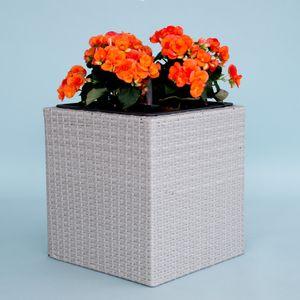 Pflanzkübel Polyrattan quadratisch 30x30x30cm Grau meliert