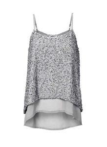 Ashley Brooke Damen Designer-Top mit Pailletten, grau, Größe:36