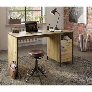 Industrial Design Schreibtisch INDORE-10 in Artisan Eiche Nb./Stahl dunkel, B/H/T: ca. 135/75,5/60 cm