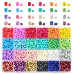 2 MM Kleine Perlen Kit Mehrfarbige undurchsichtige Glasperlen Set fuer Schmuck Armbaender Halskette Anhaenger Herstellung DIY Handwerk