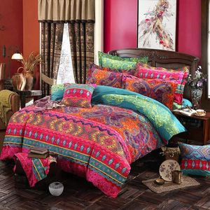 MEIYOU   Bohemian Bettwäsche 200x230 cm 4Teilig Rot Boho Indischen Mandala Böhmisch Wendebettwäsche Set Bunt Vintage Bettbezüge