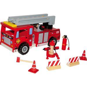 Small Foot 1527 Feuerwehrwagen aus Holz, mit Zubehör, rot, 11-teilig (1 Set)