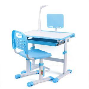 Kinderschreibtisch Höhenverstellbar  mit stuhl    mit stuhl  Schülerschreibtisch   stabil Computertisch Jugendschreibtisch   neigungsverstellbar (Blau)