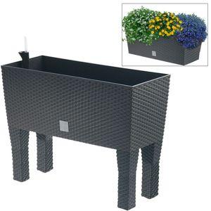 Polyrattan-Blumenbank mit Bewässerung 60cm Pflanzkasten Blumenkasten Pflanztrog