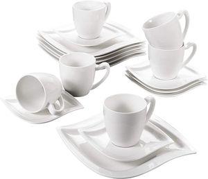 MALACASA, Serie Elvira, 18 teilig Tafelservice Kaffeeservice für 6 Person