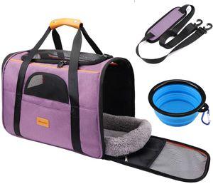 Morpilot Faltbare Hundetragetasche Katzentragetasche, hunde-transportboxen Oxford Gewebe-Lila Mittlere Größe