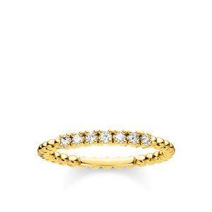 Thomas Sabo TR2323-414-14 Ring Damen Kugeln Weiße Steine Vergoldet Gr. 58