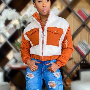 Frauen Mantel Tasche Turn-Down Kragen Faux Furs Top Short Loose Coat Größe:S,Farbe:Orange