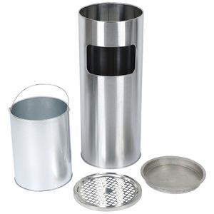 Standaschenbecher Aschenbecher silber 30 Liter Ascher Abfalleimer Mülleimer Papierkorb Edelstahl Silber