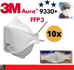 10er Pack: 3M™ Aura™ Atemschutzmaske 9330+ FFP3 FFP 3- höchste Schutzklasse + KLEINES GESCHENK*