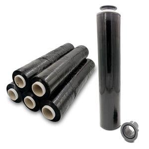 Verpacking Stretchfolie 23 my schwarz 500mm x 300m 6 Rollen + 2 Gleithülsen reißfeste blickdichte Umzugsfolie