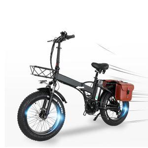 20 zoll Elektrofahrrad Fatbike ALU Klappbar E-Bike E-Faltrad 750w 15Ah 48V 30-45km/h Mit Satteltasche
