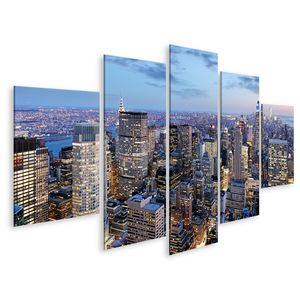 Bild Bilder auf Leinwand New York City Nacht Manhattan Usa Wandbild Poster Leinwandbild GDIO