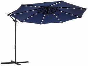 SONGMICS Sonnenschirm mit LED-Solar-Beleuchtung, Ø 300 cm, 32 LED-Lämpchen, UV-Schutz bis UPF 50+, Ampelschirm, Gartenschirm, mit Ständer, mit Kurbel, marineblau GPU018L01