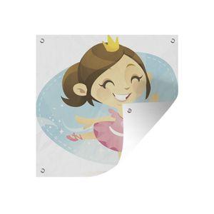 Gartenposter - Kinder-Illustration einer Prinzessin als Ballerina - 50x50 cm
