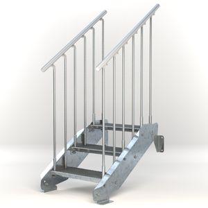 Stahltreppe 3 Stufen bis Höhe 64 cm, Laufbreite : 60 cm beidseitiges Geländer ST 3 (31 / 9 mm schmal)