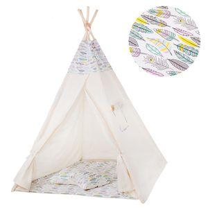 Tipi Zelt Kinder Spielzelt Baumwolle 2 Kissen Kinderzelt 160x120x100 cm - Vogelfedern