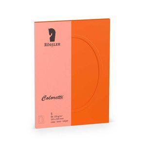 Rössler Papier - - Coloretti-5er Pack PP-Karte B6 oval, apfelsine - Liefermenge: 10 Stück