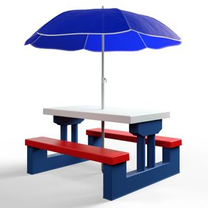 DEUBA Kindersitzgruppe Garten Tisch + 2 Bänke mit Sonnenschirm| Picknick Kinder Möbel Sitzgruppe