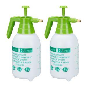 relaxdays 2x Drucksprüher 1,5 L Messingdüse Pumpsprühflasche Pflanzensprüher Gartenspritze
