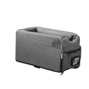 Hunde-Autositz Pet Booster Seat Armlehne Atmungsaktiver Reiseträger mit Gurten Sicherheitsstuhlkorb, Grau