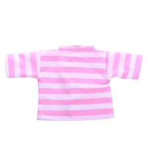 2pcs/ Set Puppenkleidung für 18\'\'  - Gestreiftes T-Shirt & Unterwäsche Unterhosen - Pink Rosa