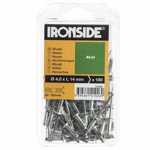 Ironside 141-026 Blind-Nieten Ø 4,0 x L 14 mm, Aluminium (100er Pack)