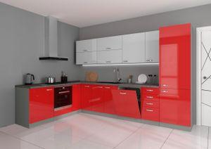Küche Bianca Ecke VI 210x330 Küchenzeile Hochglanz Rot + Weiss Küchenblock Rose