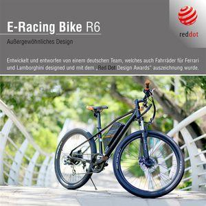 E-Bike Racing R6, 27,5 Zoll Sachsenrad, 250W bürstenloser Motor, 11 AH Lithium Batterie, 400 WH Akku