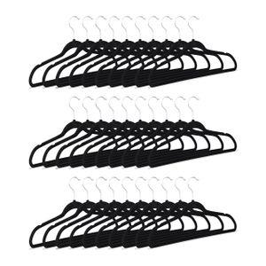 relaxdays 30 x Kleiderbügel schwarz Hosenbügel rutschfest Kunststoffkleiderbügel Rockbügel