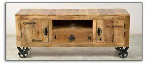 SIT Möbel Lowboard auf Rollen | 2 Türen, 1 Schublade, 1 offenes Fach | Mango-Holz natur antik | B 140 x T 40 x H 55 cm | 01915-04 | Serie RUSTIC