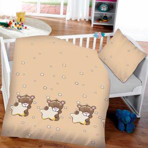 2 tlg. Kinder / Baby Bettwäsche 100x135 cm Teddy beige Baumwolle