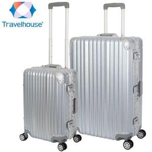 2er Reisekoffer Set, Handgepäck, Koffer L, Hartschalen Polycarbonat Alu Trolley  Travelhouse London 2er Kofferset S, L, Silber