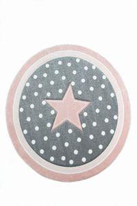 Kinderteppich Spielteppich Babyteppich Mädchen runder Teppich mit Stern rosa creme grau Größe - 80 cm Rund