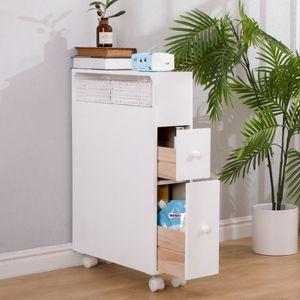 Nischenschrank Küchenwagen mit Schubladen Rollwagen Schubladencontainer Küchenregal 70x71x20cm Weiß