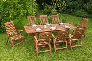 Merxx 9tlg. Comodoro Gartenmöbelset Gartenmöbelgarnitur - Farbe: natur/grün-grünkariert - Maße: Sessel: 63x62x110 Tisch: 180/220/260x100x75; 8x 25000-011 +  1x 25915-011