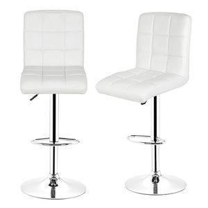 2×Barhocker SET Barstuhl Tresenhocker Drehstuhl mit Lehne Loungesessel weiß