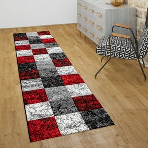Teppich Wohnzimmer Kurzflor Geometrisches Muster Kariert 3D Design Rot Grau, Grösse:160x230 cm