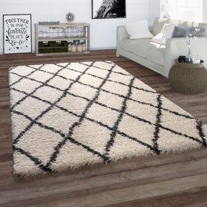 Hochflor Teppich Wohnzimmer Shaggy Skandi Rauten Muster Weich Flauschig In Creme, Grösse:120x160 cm