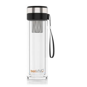 bonvivo Glas-Trinkflasche für Smoothies & Tee, Thermo-Funktion, Tea-Filter 0,45l, Farbe:schwarz