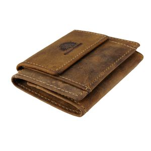 Greenburry Vintage Minibörse Elastic Card Cover Leder Geldbeutel Braun Wallet