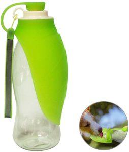 Tragbare Hundetrinkflasche für Haustiere, Reversible und Leichte Reise Trinkwasserspender für Hund, Welpen und Katzen, aus BPA-Freiem Lebensmittelechtem Silikon (Grün)
