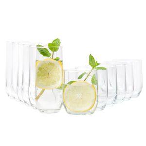 12tlg Gläserset Bella 6x Wasser Trink-Becher 6x Long-Drink Partygläser 310ml Tumbler Glas Gastro
