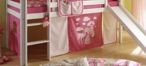 Vorhang Prinzessin 2-teilig 100% Baumwolle Stoffvorhang inkl Klettband für Hochbett rosa pink Kinderzimmer Spielbett Etagenbett Stockbett Kinderbett Gardine