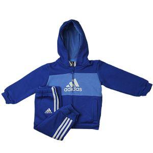 adidas Performance Klein Kinder Baby Anzug Logo Hooded Jogginganzug blau, Größe:92